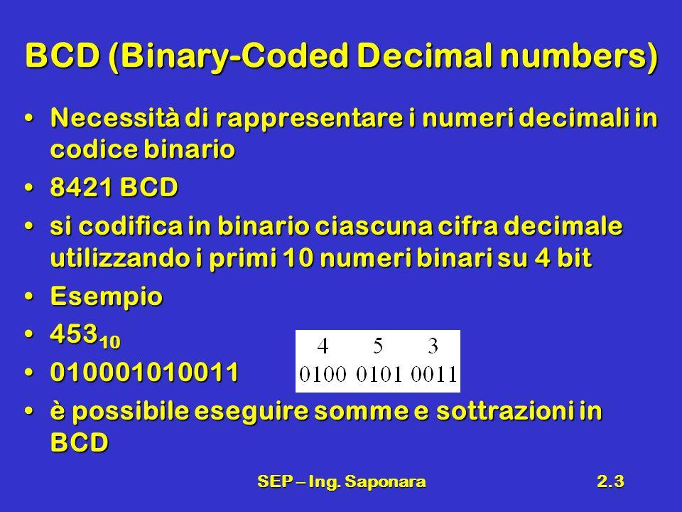 SEP – Ing. Saponara2.3 BCD (Binary-Coded Decimal numbers) Necessità di rappresentare i numeri decimali in codice binarioNecessità di rappresentare i n