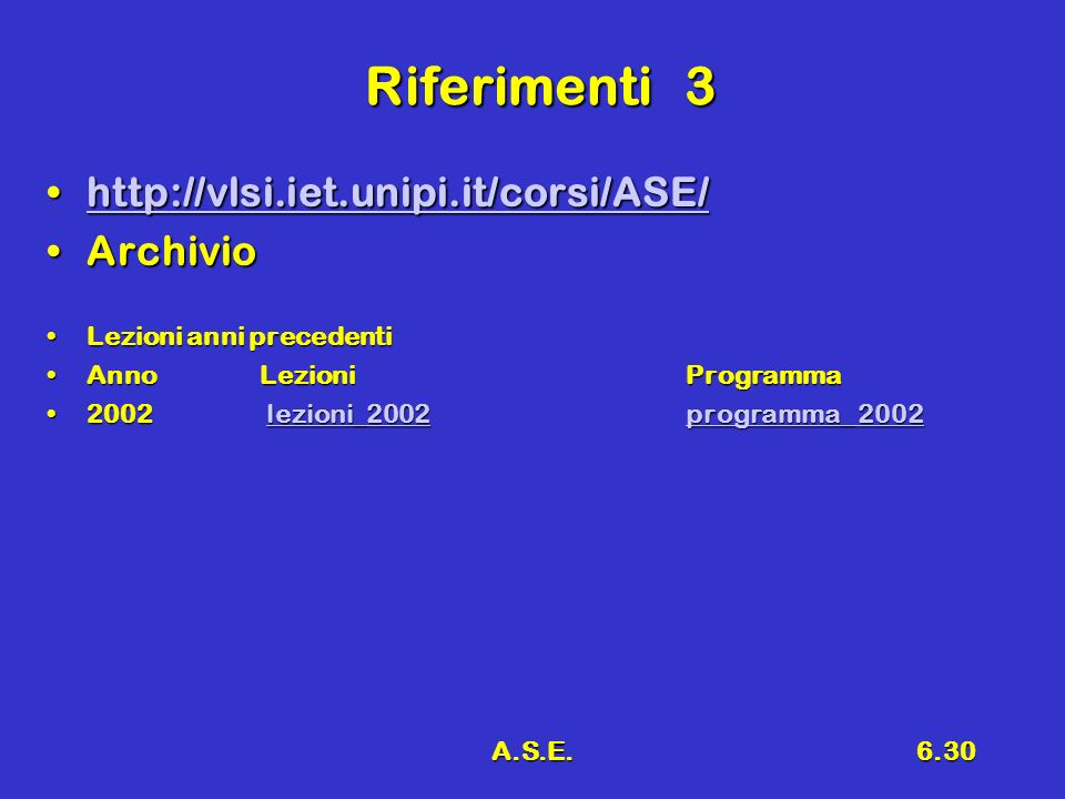 A.S.E.6.30 Riferimenti3 http://vlsi.iet.unipi.it/corsi/ASE/http://vlsi.iet.unipi.it/corsi/ASE/http://vlsi.iet.unipi.it/corsi/ASE/ ArchivioArchivio Lezioni anni precedentiLezioni anni precedenti AnnoLezioniProgrammaAnnoLezioniProgramma 2002 lezioni_2002programma_ 20022002 lezioni_2002programma_ 2002lezioni_2002programma_ 2002lezioni_2002programma_ 2002