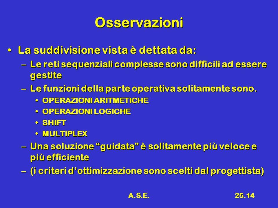A.S.E.25.14 Osservazioni La suddivisione vista è dettata da:La suddivisione vista è dettata da: –Le reti sequenziali complesse sono difficili ad essere gestite –Le funzioni della parte operativa solitamente sono.