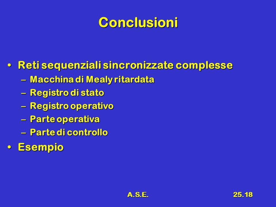 A.S.E.25.18 Conclusioni Reti sequenziali sincronizzate complesseReti sequenziali sincronizzate complesse –Macchina di Mealy ritardata –Registro di stato –Registro operativo –Parte operativa –Parte di controllo EsempioEsempio