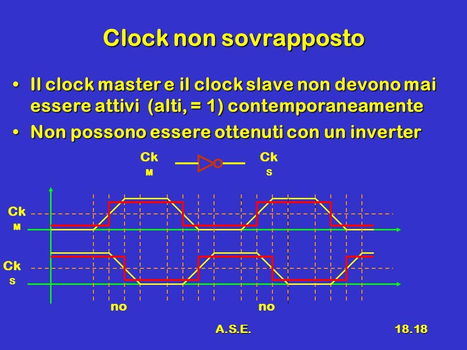 A.S.E.18.18 Clock non sovrapposto Il clock master e il clock slave non devono mai essere attivi (alti, = 1) contemporaneamenteIl clock master e il clo