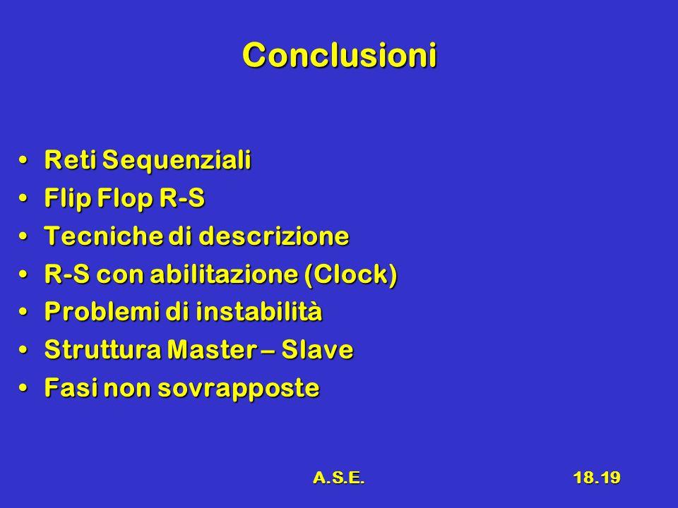A.S.E.18.19 Conclusioni Reti SequenzialiReti Sequenziali Flip Flop R-SFlip Flop R-S Tecniche di descrizioneTecniche di descrizione R-S con abilitazion
