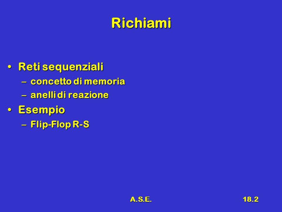 A.S.E.18.2 Richiami Reti sequenzialiReti sequenziali –concetto di memoria –anelli di reazione EsempioEsempio –Flip-Flop R-S