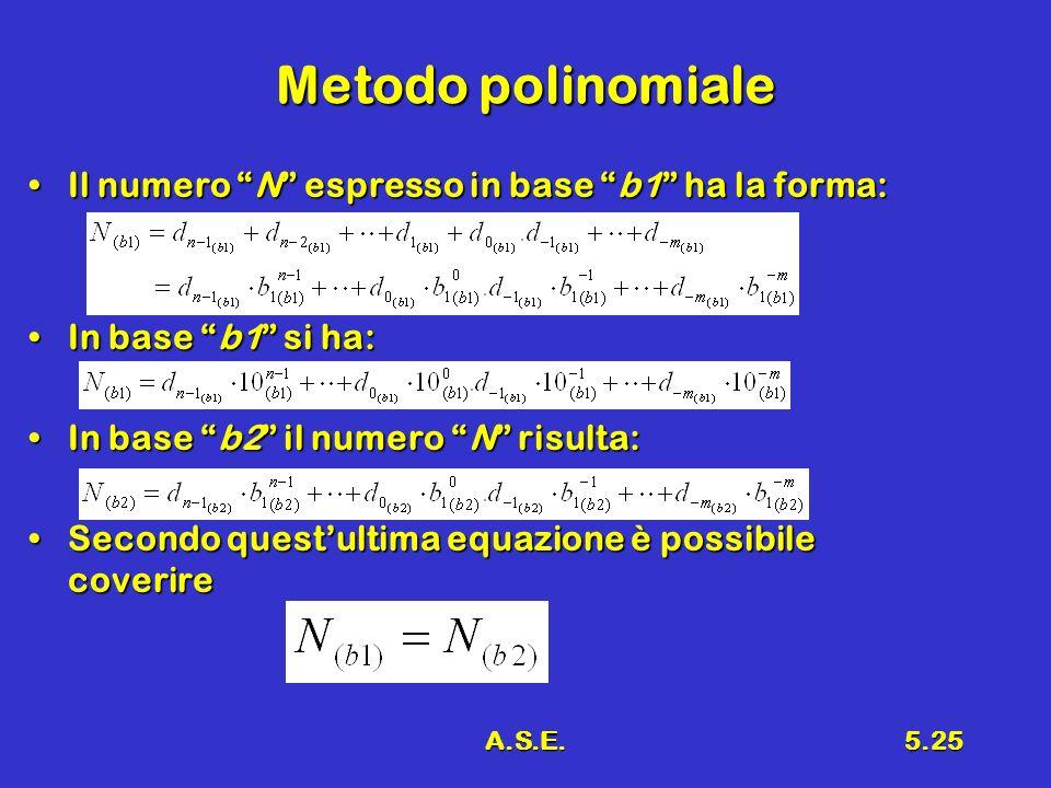 A.S.E.5.25 Metodo polinomiale Il numero N espresso in base b1 ha la forma:Il numero N espresso in base b1 ha la forma: In base b1 si ha:In base b1 si