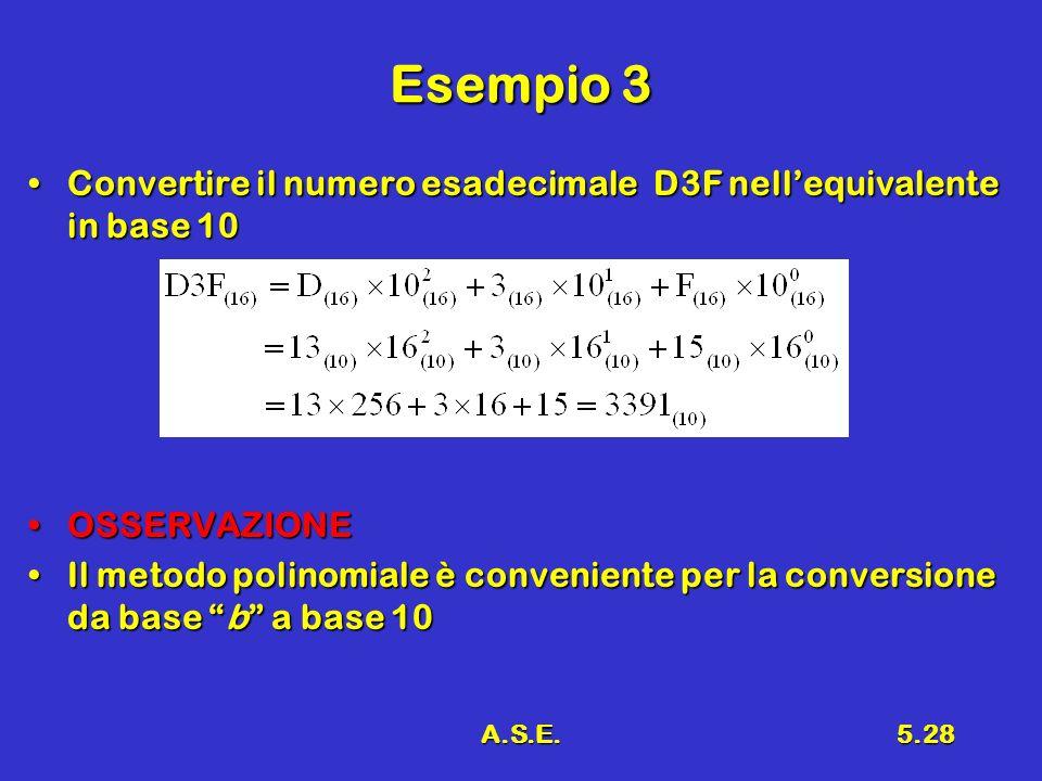 A.S.E.5.28 Esempio 3 Convertire il numero esadecimale D3F nellequivalente in base 10Convertire il numero esadecimale D3F nellequivalente in base 10 OS