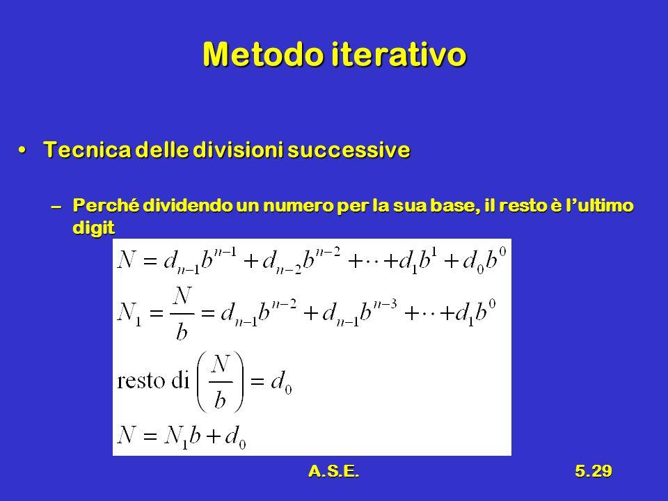 A.S.E.5.29 Metodo iterativo Tecnica delle divisioni successiveTecnica delle divisioni successive –Perché dividendo un numero per la sua base, il resto