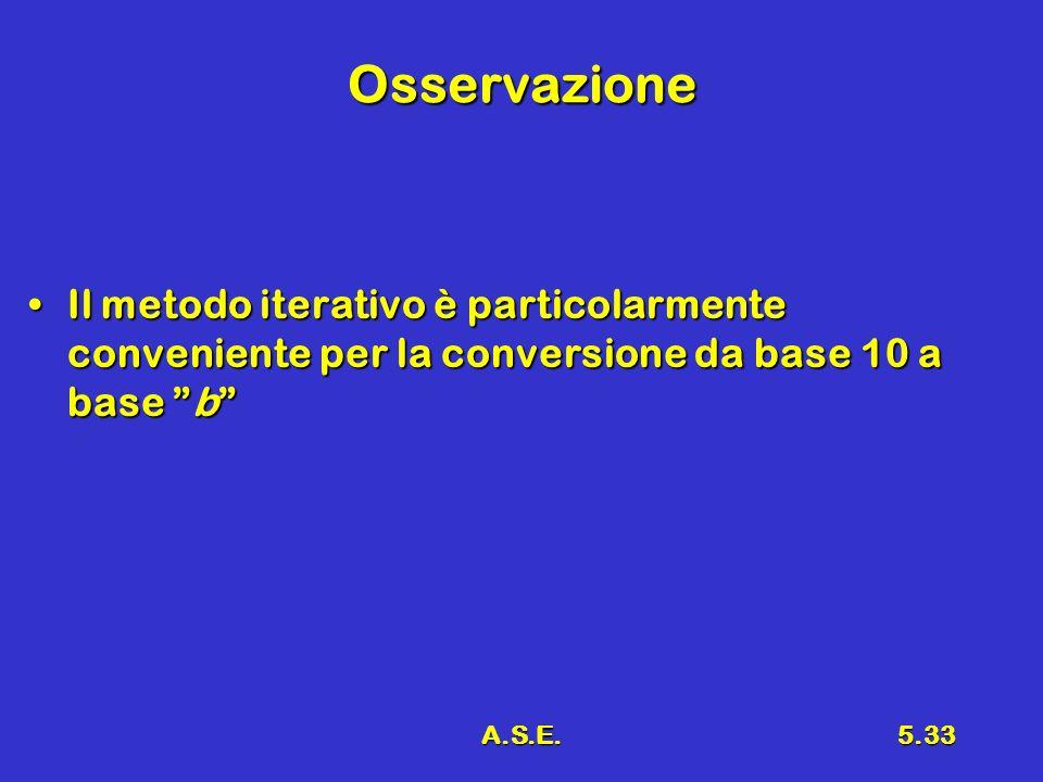 A.S.E.5.33 Osservazione Il metodo iterativo è particolarmente conveniente per la conversione da base 10 a base bIl metodo iterativo è particolarmente