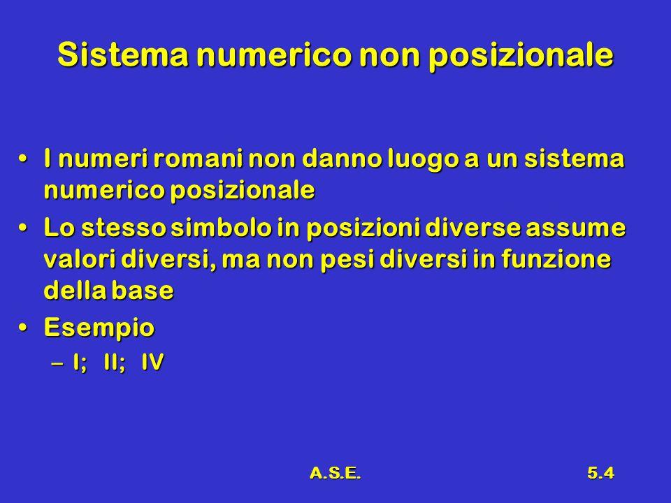 A.S.E.5.4 Sistema numerico non posizionale I numeri romani non danno luogo a un sistema numerico posizionaleI numeri romani non danno luogo a un siste