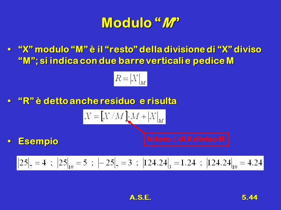 A.S.E.5.44 Modulo M X modulo M è il resto della divisione di X diviso M; si indica con due barre verticali e pedice MX modulo M è il resto della divis
