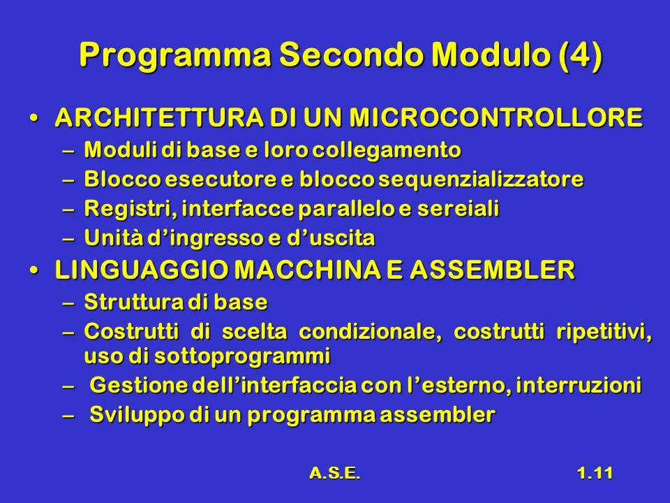 A.S.E.1.11 Programma Secondo Modulo (4) ARCHITETTURA DI UN MICROCONTROLLOREARCHITETTURA DI UN MICROCONTROLLORE –Moduli di base e loro collegamento –Bl