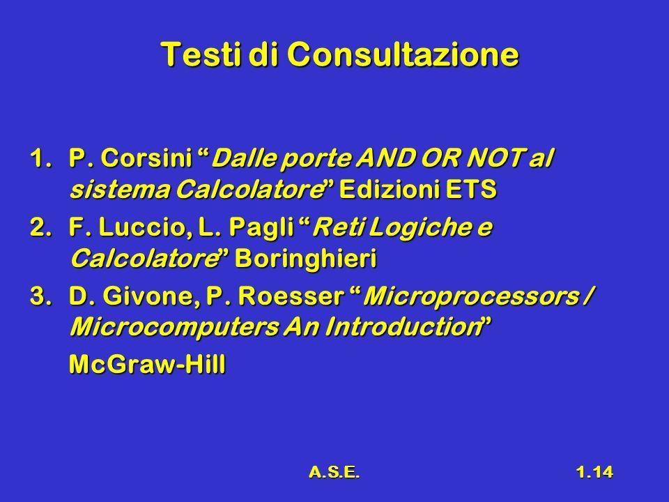 A.S.E.1.14 Testi di Consultazione 1.P. Corsini Dalle porte AND OR NOT al sistema Calcolatore Edizioni ETS 2.F. Luccio, L. Pagli Reti Logiche e Calcola