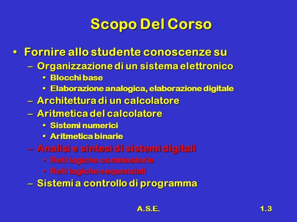 A.S.E.1.3 Scopo Del Corso Fornire allo studente conoscenze suFornire allo studente conoscenze su –Organizzazione di un sistema elettronico Blocchi bas