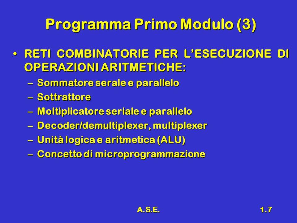 A.S.E.1.7 Programma Primo Modulo (3) RETI COMBINATORIE PER LESECUZIONE DI OPERAZIONI ARITMETICHE:RETI COMBINATORIE PER LESECUZIONE DI OPERAZIONI ARITM
