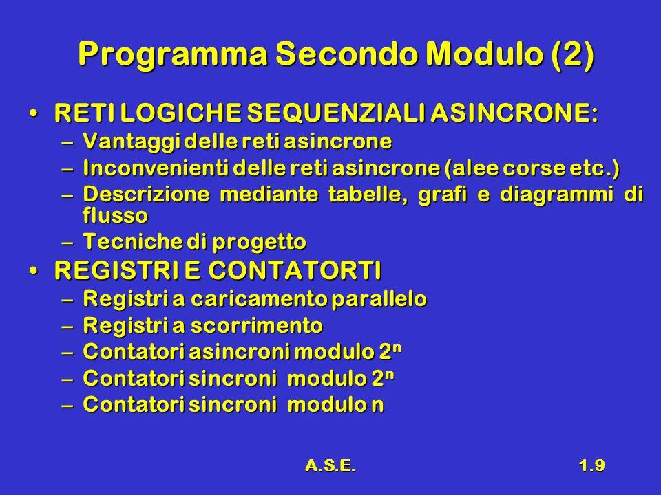 A.S.E.1.9 Programma Secondo Modulo (2) RETI LOGICHE SEQUENZIALI ASINCRONE:RETI LOGICHE SEQUENZIALI ASINCRONE: –Vantaggi delle reti asincrone –Inconven