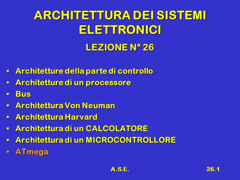 A.S.E.26.12 Architettura von Neumann Unità di Controllo Unità UnitàAritmeticaUnitàAritmeticaMemoriaMemoria Istruzioni BUS Dati IndirizziIstruzioni Stato