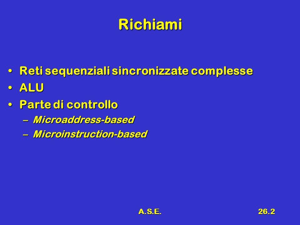 A.S.E.26.2 Richiami Reti sequenziali sincronizzate complesseReti sequenziali sincronizzate complesse ALUALU Parte di controlloParte di controllo –Micr