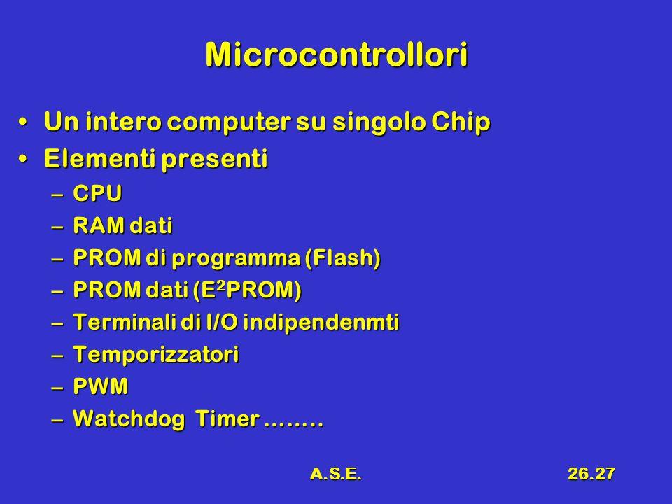A.S.E.26.27 Microcontrollori Un intero computer su singolo ChipUn intero computer su singolo Chip Elementi presentiElementi presenti –CPU –RAM dati –P