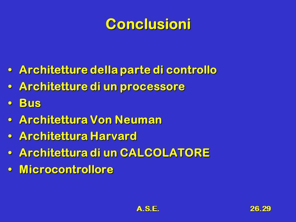 A.S.E.26.29 Conclusioni Architetture della parte di controlloArchitetture della parte di controllo Architetture di un processoreArchitetture di un pro