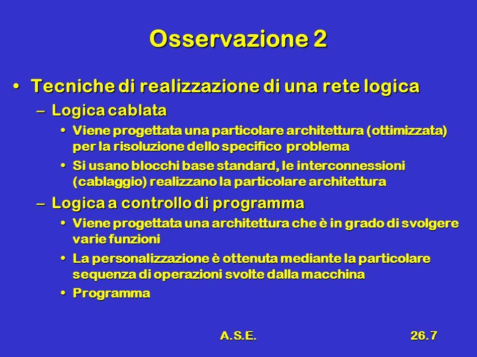 A.S.E.26.7 Osservazione 2 Tecniche di realizzazione di una rete logicaTecniche di realizzazione di una rete logica –Logica cablata Viene progettata un