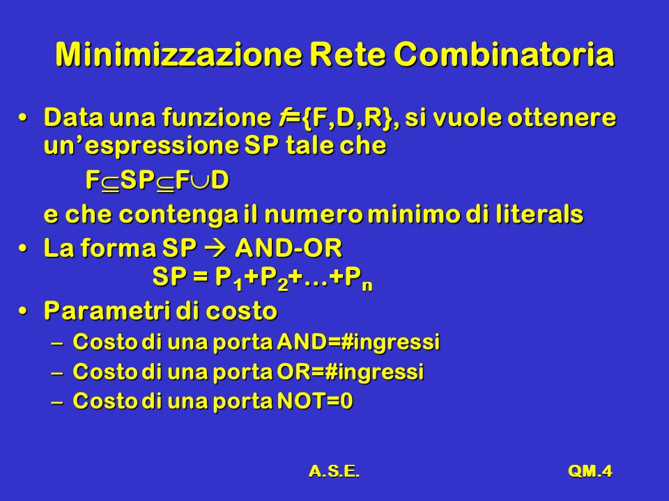 A.S.E.QM.5 Minimizzazione Rete Combinatoria SP = P 1 +P 2 +…+P nSP = P 1 +P 2 +…+P n Costo SP = costo P1 + costo P2 +…+ costo Pn + nCosto SP = costo P1 + costo P2 +…+ costo Pn + n La minimizzazione richiede contemporaneamente di:La minimizzazione richiede contemporaneamente di: –minimizzare il numero n di prodotti P i ( ingressi OR) –minimizzare il costo di ciascun P i minimo numero di termini ingressi ANDminimo numero di termini ingressi AND In pratica, ogni implicante ha un costo pari al numero di literals+1In pratica, ogni implicante ha un costo pari al numero di literals+1 –Costo SP = (costo P1 +1) + (costo P2 +1) +…+ (costo P +1) –il termine +1 tiene conto dellingresso richiesto alla OR
