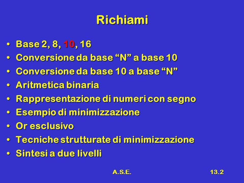 A.S.E.13.2 Richiami Base 2, 8, 10, 16Base 2, 8, 10, 16 Conversione da base N a base 10Conversione da base N a base 10 Conversione da base 10 a base NConversione da base 10 a base N Aritmetica binariaAritmetica binaria Rappresentazione di numeri con segnoRappresentazione di numeri con segno Esempio di minimizzazioneEsempio di minimizzazione Or esclusivoOr esclusivo Tecniche strutturate di minimizzazioneTecniche strutturate di minimizzazione Sintesi a due livelliSintesi a due livelli