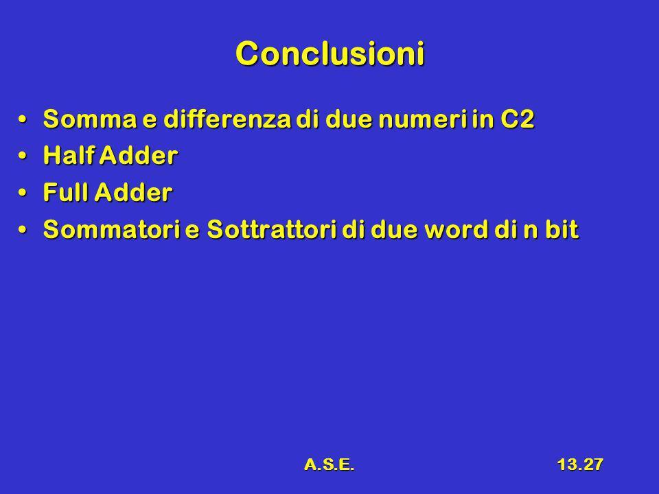 A.S.E.13.27 Conclusioni Somma e differenza di due numeri in C2Somma e differenza di due numeri in C2 Half AdderHalf Adder Full AdderFull Adder Sommatori e Sottrattori di due word di n bitSommatori e Sottrattori di due word di n bit