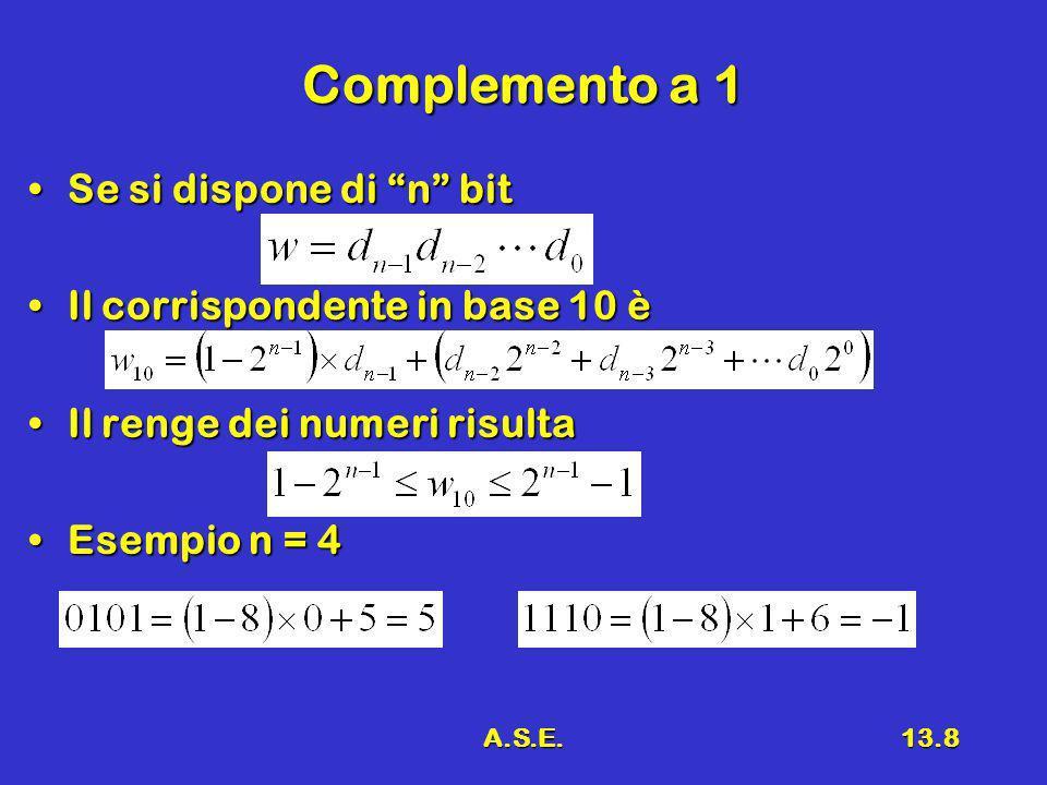 A.S.E.13.8 Complemento a 1 Se si dispone di n bitSe si dispone di n bit Il corrispondente in base 10 èIl corrispondente in base 10 è Il renge dei numeri risultaIl renge dei numeri risulta Esempio n = 4Esempio n = 4