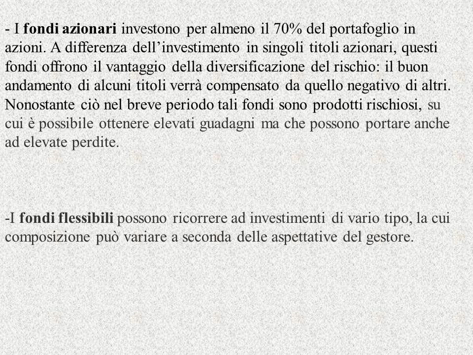 - I fondi azionari investono per almeno il 70% del portafoglio in azioni. A differenza dellinvestimento in singoli titoli azionari, questi fondi offro