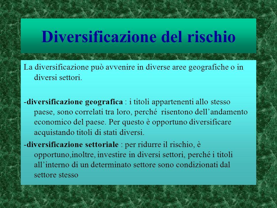 Diversificazione del rischio La diversificazione può avvenire in diverse aree geografiche o in diversi settori. -diversificazione geografica : i titol