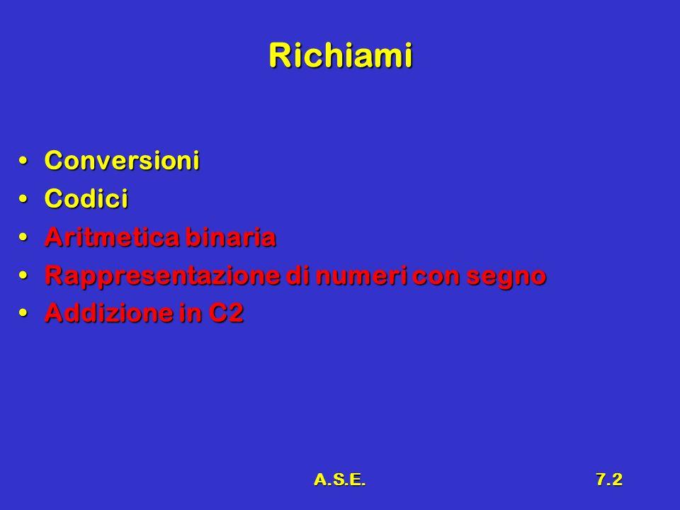 A.S.E.7.2 Richiami ConversioniConversioni CodiciCodici Aritmetica binariaAritmetica binaria Rappresentazione di numeri con segnoRappresentazione di nu