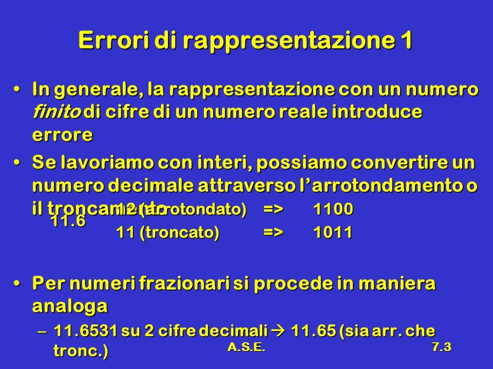 A.S.E.7.3 Errori di rappresentazione 1 In generale, la rappresentazione con un numero finito di cifre di un numero reale introduce erroreIn generale,