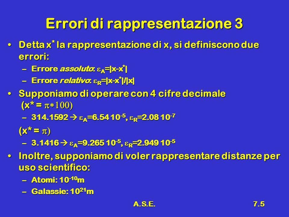 A.S.E.7.5 Errori di rappresentazione 3 Detta x * la rappresentazione di x, si definiscono due errori:Detta x * la rappresentazione di x, si definiscon