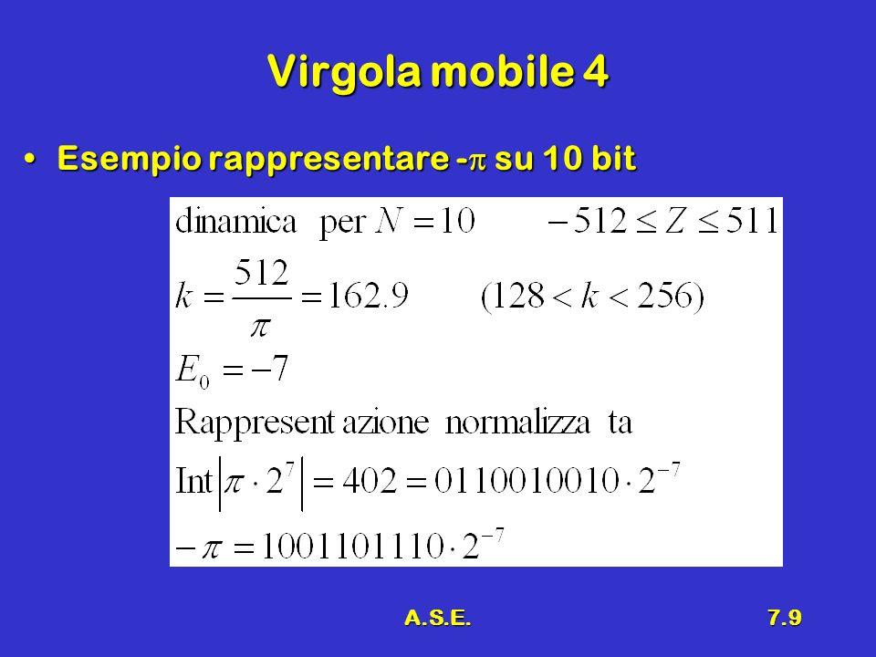 A.S.E.7.9 Virgola mobile 4 Esempio rappresentare - su 10 bitEsempio rappresentare - su 10 bit