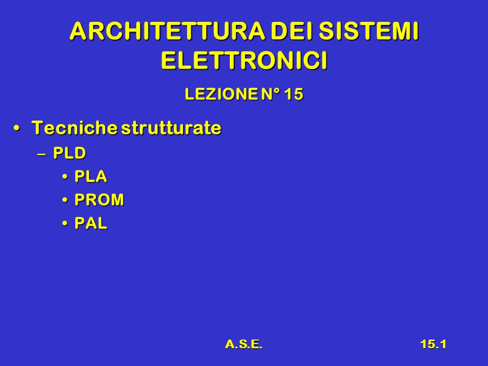 A.S.E.15.2 Richiami Reti combinatorie frequentiReti combinatorie frequenti ComparatoriComparatori Generatore/verificatore di paritàGeneratore/verificatore di parità DecodificatoroDecodificatoro CodificatoriCodificatori MultiplexMultiplex DemultiplexDemultiplex