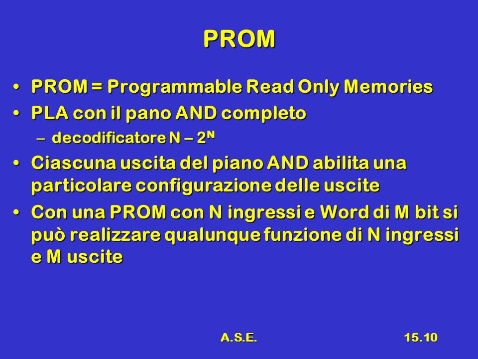 A.S.E.15.10 PROM PROM = Programmable Read Only MemoriesPROM = Programmable Read Only Memories PLA con il pano AND completoPLA con il pano AND completo