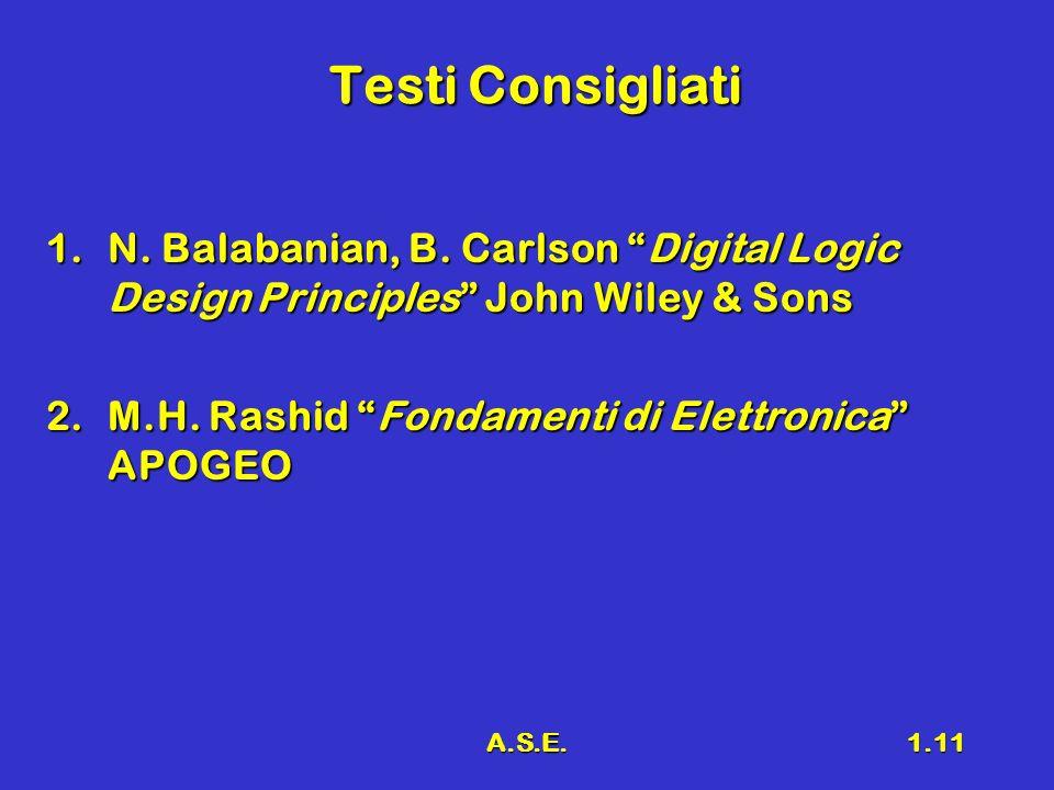 A.S.E.1.11 Testi Consigliati 1.N. Balabanian, B. Carlson Digital Logic Design Principles John Wiley & Sons 2.M.H. Rashid Fondamenti di Elettronica APO