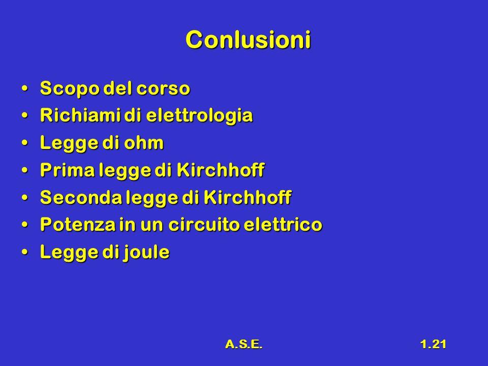 A.S.E.1.21 Conlusioni Scopo del corsoScopo del corso Richiami di elettrologiaRichiami di elettrologia Legge di ohmLegge di ohm Prima legge di Kirchhof