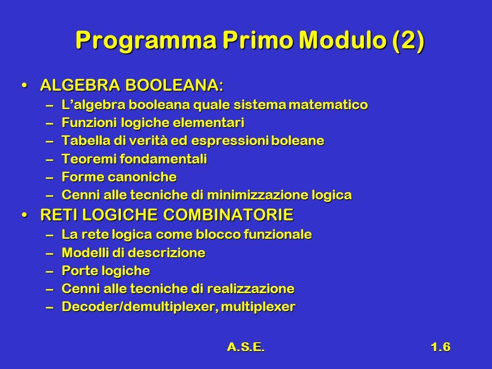 A.S.E.1.6 Programma Primo Modulo (2) ALGEBRA BOOLEANA:ALGEBRA BOOLEANA: –Lalgebra booleana quale sistema matematico –Funzioni logiche elementari –Tabella di verità ed espressioni boleane –Teoremi fondamentali –Forme canoniche –Cenni alle tecniche di minimizzazione logica –Cenni alle tecniche di minimizzazione logica RETI LOGICHE COMBINATORIERETI LOGICHE COMBINATORIE –La rete logica come blocco funzionale –Modelli di descrizione –Porte logiche –Cenni alle tecniche di realizzazione –Decoder/demultiplexer, multiplexer –Decoder/demultiplexer, multiplexer