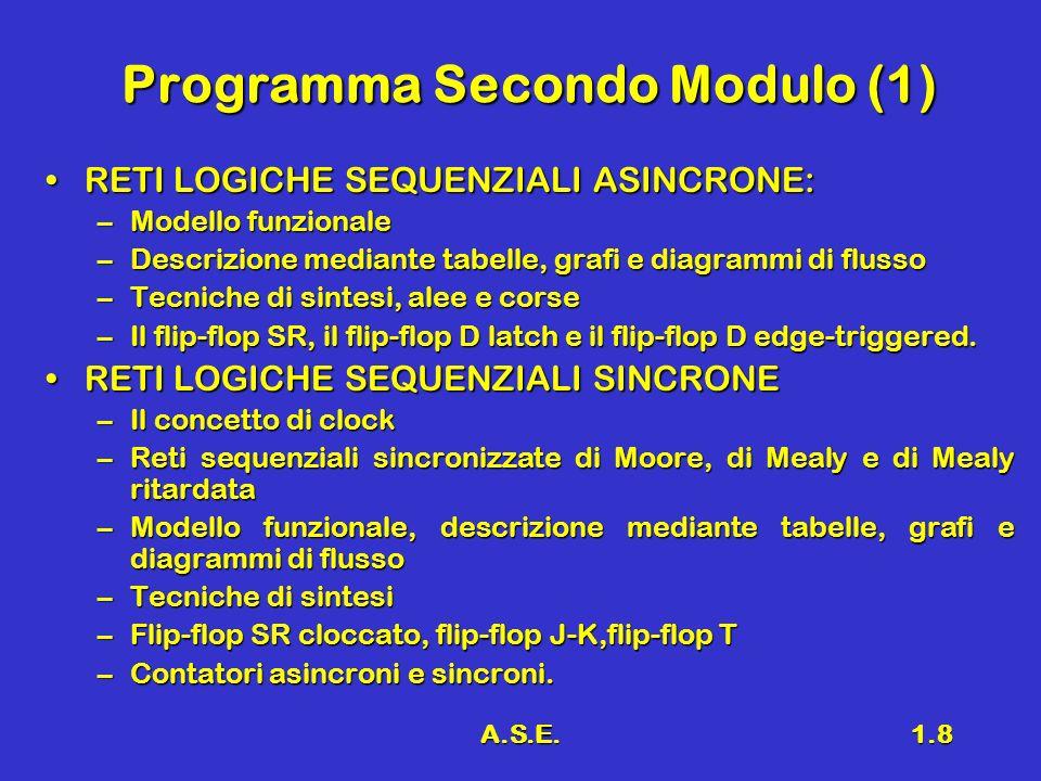 A.S.E.1.8 Programma Secondo Modulo (1) RETI LOGICHE SEQUENZIALI ASINCRONE:RETI LOGICHE SEQUENZIALI ASINCRONE: –Modello funzionale –Descrizione mediante tabelle, grafi e diagrammi di flusso –Tecniche di sintesi, alee e corse –Il flip-flop SR, il flip-flop D latch e il flip-flop D edge-triggered.