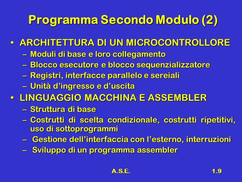 A.S.E.1.9 Programma Secondo Modulo (2) ARCHITETTURA DI UN MICROCONTROLLOREARCHITETTURA DI UN MICROCONTROLLORE –Moduli di base e loro collegamento –Blocco esecutore e blocco sequenzializzatore –Registri, interfacce parallelo e sereiali –Unità dingresso e duscita –Unità dingresso e duscita LINGUAGGIO MACCHINA E ASSEMBLERLINGUAGGIO MACCHINA E ASSEMBLER –Struttura di base –Costrutti di scelta condizionale, costrutti ripetitivi, uso di sottoprogrammi – Gestione dellinterfaccia con lesterno, interruzioni – Sviluppo di un programma assembler