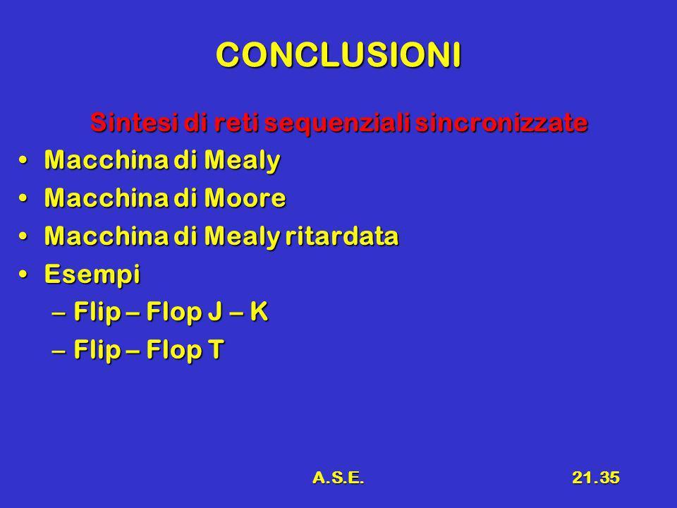 A.S.E.21.35 CONCLUSIONI Sintesi di reti sequenziali sincronizzate Macchina di MealyMacchina di Mealy Macchina di MooreMacchina di Moore Macchina di Me