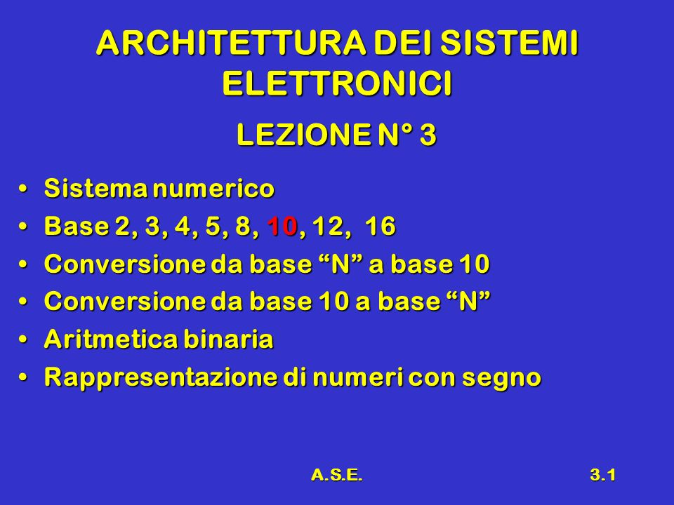A.S.E.3.1 ARCHITETTURA DEI SISTEMI ELETTRONICI LEZIONE N° 3 Sistema numericoSistema numerico Base 2, 3, 4, 5, 8, 10, 12, 16Base 2, 3, 4, 5, 8, 10, 12, 16 Conversione da base N a base 10Conversione da base N a base 10 Conversione da base 10 a base NConversione da base 10 a base N Aritmetica binariaAritmetica binaria Rappresentazione di numeri con segnoRappresentazione di numeri con segno