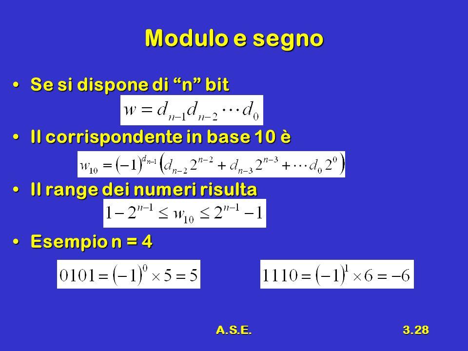A.S.E.3.28 Modulo e segno Se si dispone di n bitSe si dispone di n bit Il corrispondente in base 10 èIl corrispondente in base 10 è Il range dei numeri risultaIl range dei numeri risulta Esempio n = 4Esempio n = 4