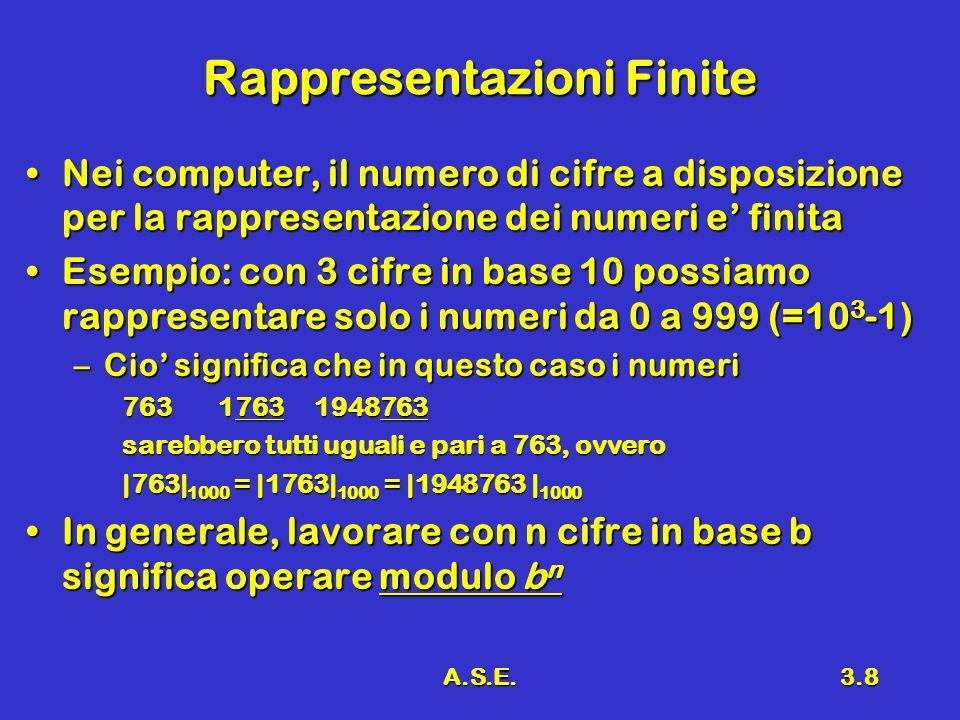 A.S.E.3.8 Rappresentazioni Finite Nei computer, il numero di cifre a disposizione per la rappresentazione dei numeri e finitaNei computer, il numero di cifre a disposizione per la rappresentazione dei numeri e finita Esempio: con 3 cifre in base 10 possiamo rappresentare solo i numeri da 0 a 999 (=10 3 -1)Esempio: con 3 cifre in base 10 possiamo rappresentare solo i numeri da 0 a 999 (=10 3 -1) –Cio significa che in questo caso i numeri 763 17631948763 sarebbero tutti uguali e pari a 763, ovvero |763| 1000 = |1763| 1000 = |1948763 | 1000 In generale, lavorare con n cifre in base b significa operare modulo b nIn generale, lavorare con n cifre in base b significa operare modulo b n