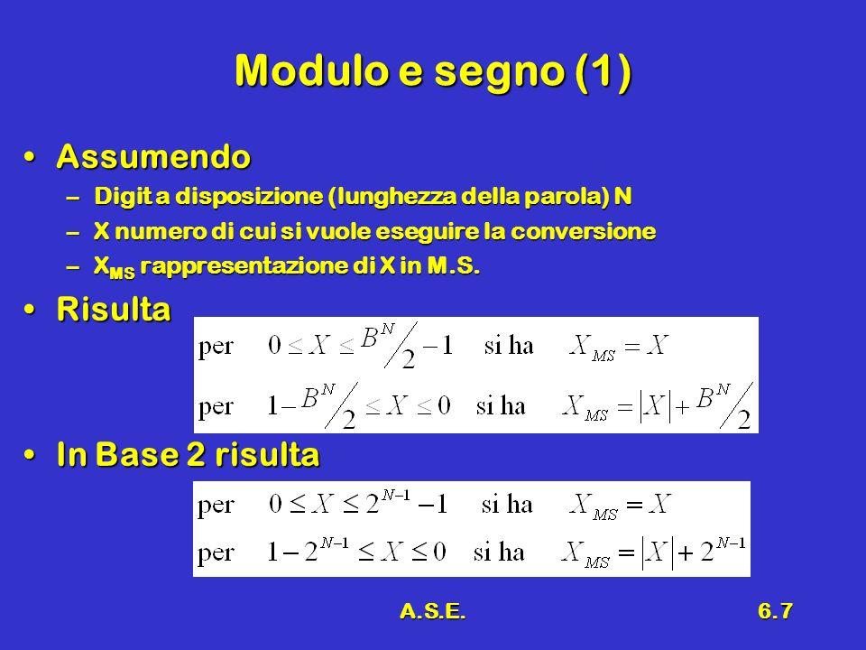 A.S.E.6.7 Modulo e segno (1) AssumendoAssumendo –Digit a disposizione (lunghezza della parola) N –X numero di cui si vuole eseguire la conversione –X MS rappresentazione di X in M.S.