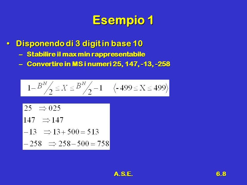 A.S.E.6.8 Esempio 1 Disponendo di 3 digit in base 10Disponendo di 3 digit in base 10 –Stabilire il max min rappresentabile –Convertire in MS i numeri 25, 147, -13, -258