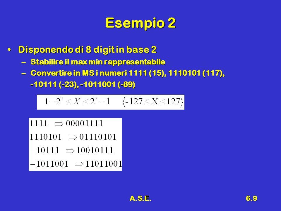 A.S.E.6.9 Esempio 2 Disponendo di 8 digit in base 2Disponendo di 8 digit in base 2 –Stabilire il max min rappresentabile –Convertire in MS i numeri 1111 (15), 1110101 (117), -10111 (-23), -1011001 (-89)