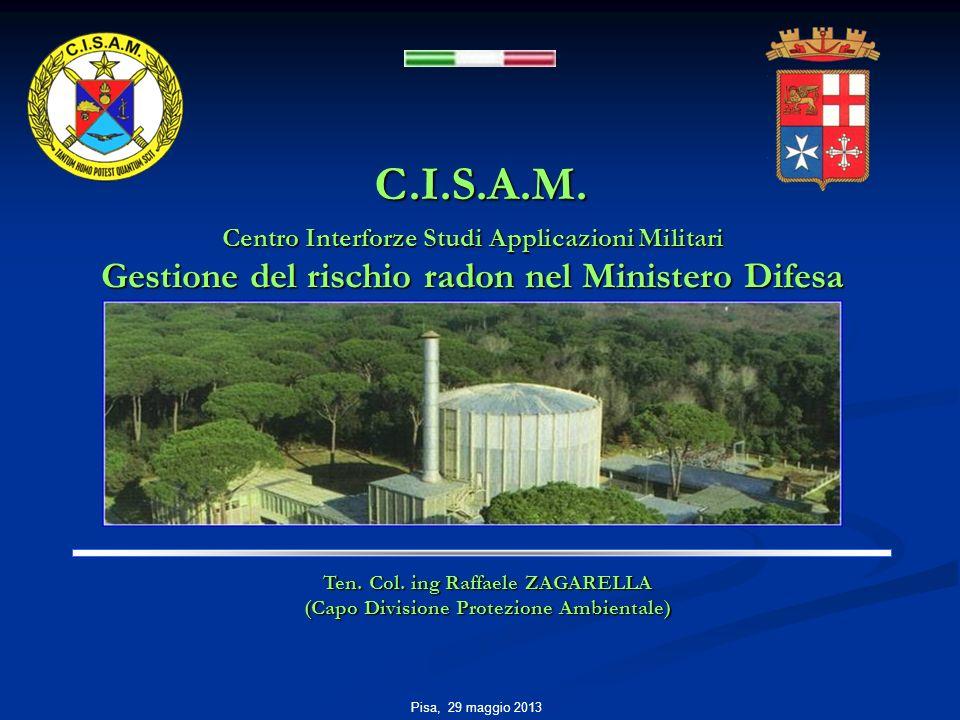 C.I.S.A.M. Centro Interforze Studi Applicazioni Militari Gestione del rischio radon nel Ministero Difesa Pisa, 29 maggio 2013 Ten. Col. ing Raffaele Z