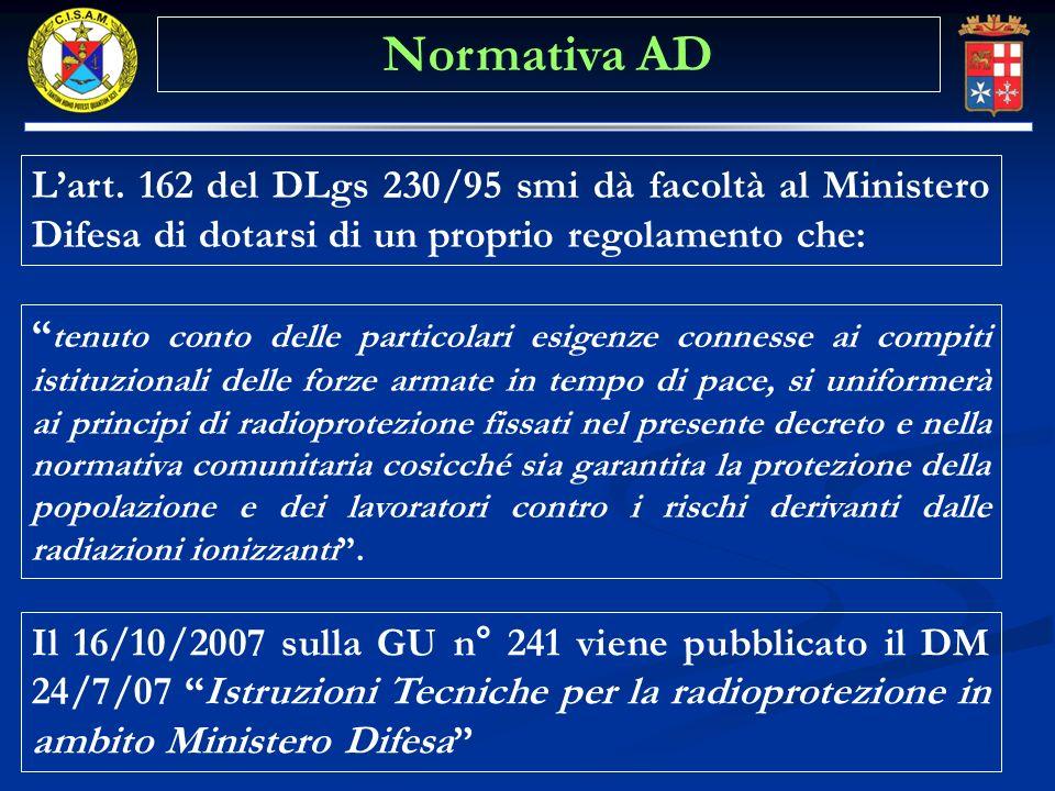 Lart. 162 del DLgs 230/95 smi dà facoltà al Ministero Difesa di dotarsi di un proprio regolamento che: tenuto conto delle particolari esigenze conness