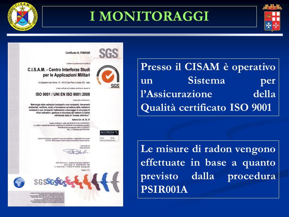 Presso il CISAM è operativo un Sistema per lAssicurazione della Qualità certificato ISO 9001 Le misure di radon vengono effettuate in base a quanto pr